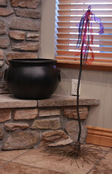 Witches Broom with Cauldron